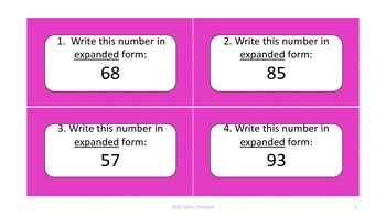 Place Value Task Cards (2,3, and 4 digit numbers)