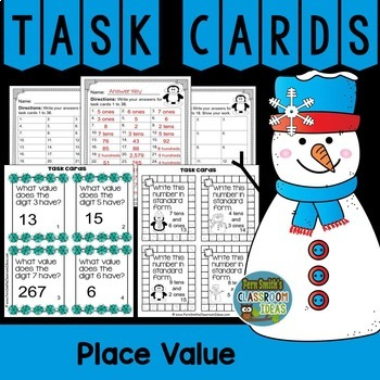 Winter Place Value Task Cards, Recording Sheets and Answer Keys