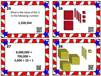 Place Value Task Cards w/ QR Codes
