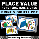 Place Value Task Cards 2nd Grade Math Review Hundreds Tens Ones Digital MAB