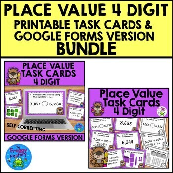 Place Value Task Cards - 3, 4, and 5 Digit Sets