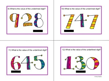 Place Value Task Cards 3 digit