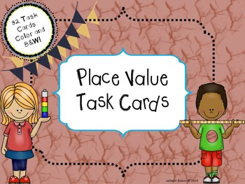 Place Value Task Cards:  32 Color and B&W Cards (to hundre