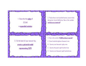 Place Value Task Cards 3.2A, 3.2D, 3.2B