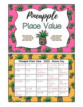 Place Value Task Cards (Pineapple Themed)