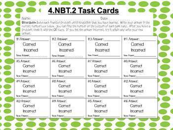 Place Value (4.NBT.2) Task Cards with QR codes