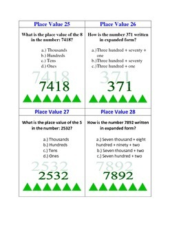 Place Value Task Cards: 42 Common Core Aligned 2.NBT.1 Task Cards
