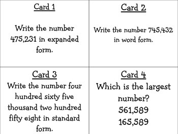 Place Value Task Cards 4.NBT.2