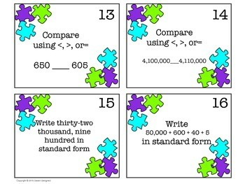 Place Value Task Cards - 4th Grade CCSS