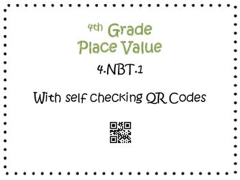 Place Value Task Cards 4th Grade Math Common Core 4.NBT.1 {QR Codes & Key}