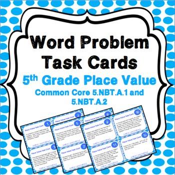 5th Grade Place Value Activity: Place Value Task Cards (5.NBT.1, 5.NBT.2)