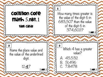 Place Value Task Cards 5th Grade 5.NBT.1