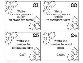 Decimal Place Value Task Cards - 5th Grade CCSS