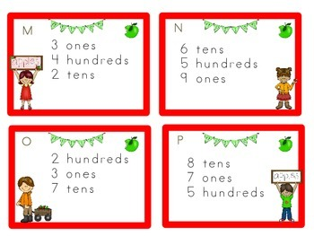 Place Value Task Cards, Apple theme