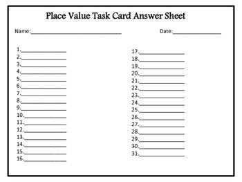 Place Value Task Cards/ Assessment Sheet
