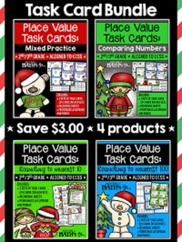 Place Value Task Cards Bundle {Christmas}
