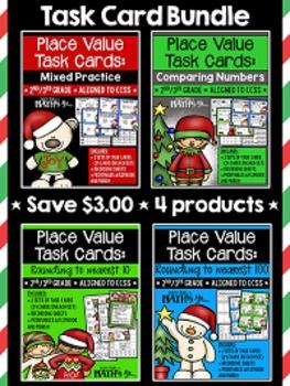 Place Value Task Cards Bundle {Christmas}