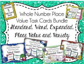 Place Value Task Cards Bundle, Whole Numbers