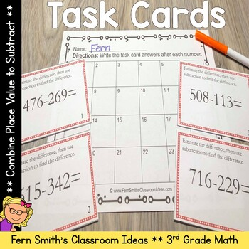 Place Value Task Cards - Combine Place Value to Subtract