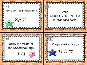 Place Value, Expanded Form, and Comparing Numbers Task Cards