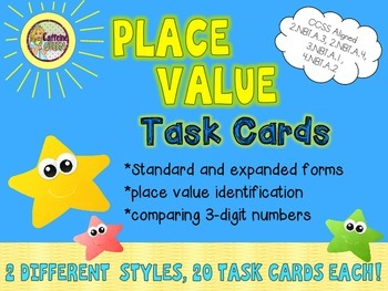 Place Value, Expanded Form, & Comparing Numbers Task Cards