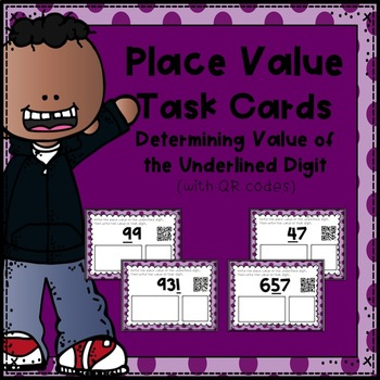 Place Value Task Cards:  Determining Value of the Underlined Digit