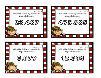 Place Value Task Cards- Expanded Form {Christmas Theme}