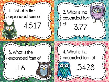 Place Value Task Cards: Expanded Form, Decimal Numbers