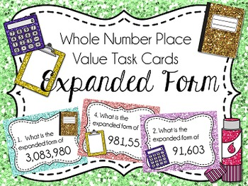 Place Value Task Cards: Expanded Form, Whole Numbers