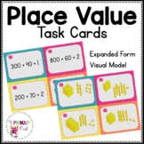 Place Value Task Cards Expanded Form and Visual Model FREEBIE