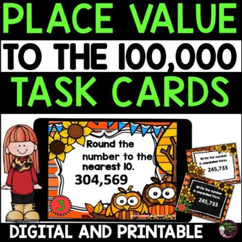 Place Value Task Cards- Fall theme