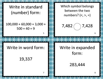 Place Value Task Cards - Fourth Grade Common Core Math 4.NBT.A.2