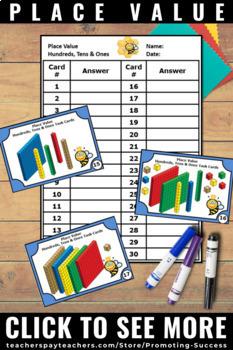 Place Value Hundreds Tens Ones, Base Ten Blocks Task Cards, 2nd 3rd Grade Math