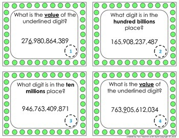 Place Value Task Cards- Hundred Billions