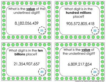 Place Value Task Cards - Hundred Billions