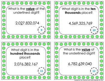 Place Value Task Cards - One Billions Place