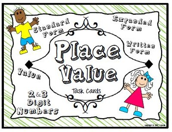 Place Value Task Cards Math Center Activity (2-3 digit numbers)