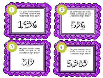 Place Value Task Cards.  Math Centers