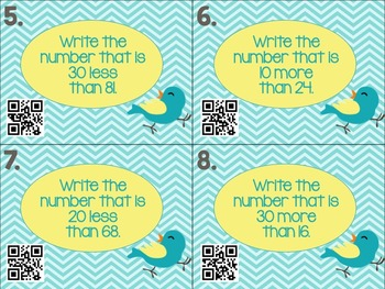 Place Value Task Cards Mental Math 10 20 30 more than less than QR codes