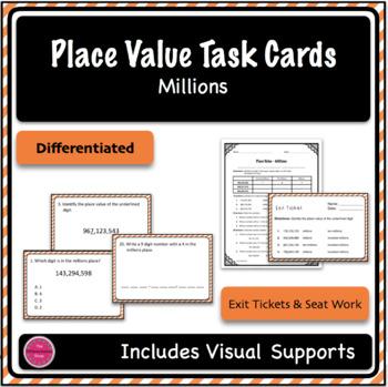 Place Value Task Cards - Millions - Differentiation Bundle (2 sets)