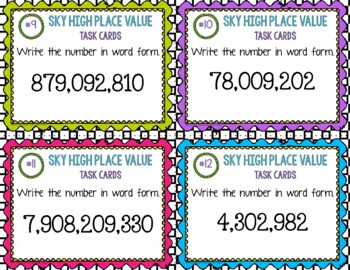 Place Value Task Cards { Millions and Billions } Enrichment & Differentiation