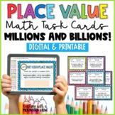 Place Value Task Cards { Millions and Billions } Enrichmen