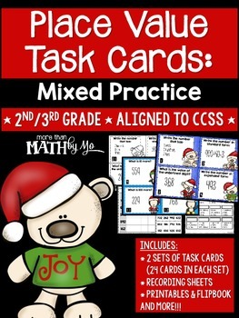 Place Value Task Cards: Mixed Practice {Christmas}