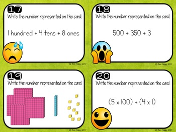 Place Value Task Cards Numbers to 999
