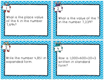 Place Value Task Cards Numbers to the Ten Thousands Place