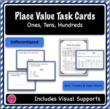 Place Value Task Cards - Ones, Tens, Hundreds - Differentiation Bundle (2 sets)