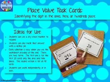 Place Value Task Cards - Ones, Tens, and Hundreds