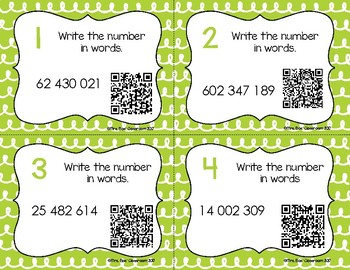 Place Value Task Cards - Ones to Hundred Millions