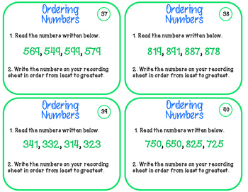 Place Value Task Cards Ordering Numbers