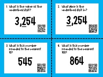 Place Value Task Cards QR Codes